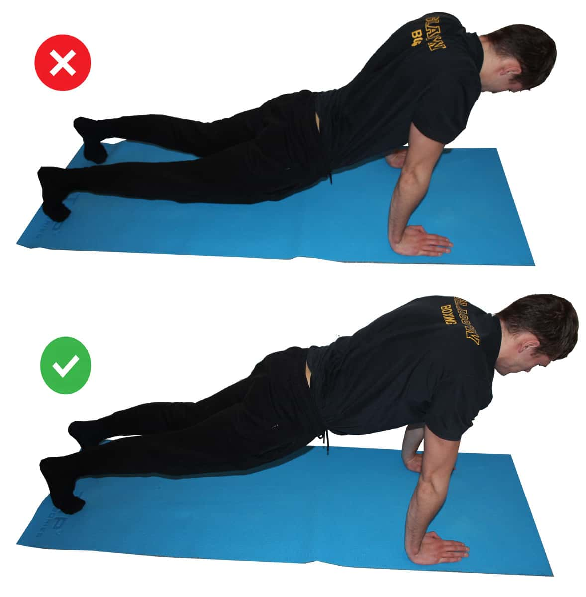 Proper pushup form: demonstration of the mistake in a side by side comparison of lowering the hips.