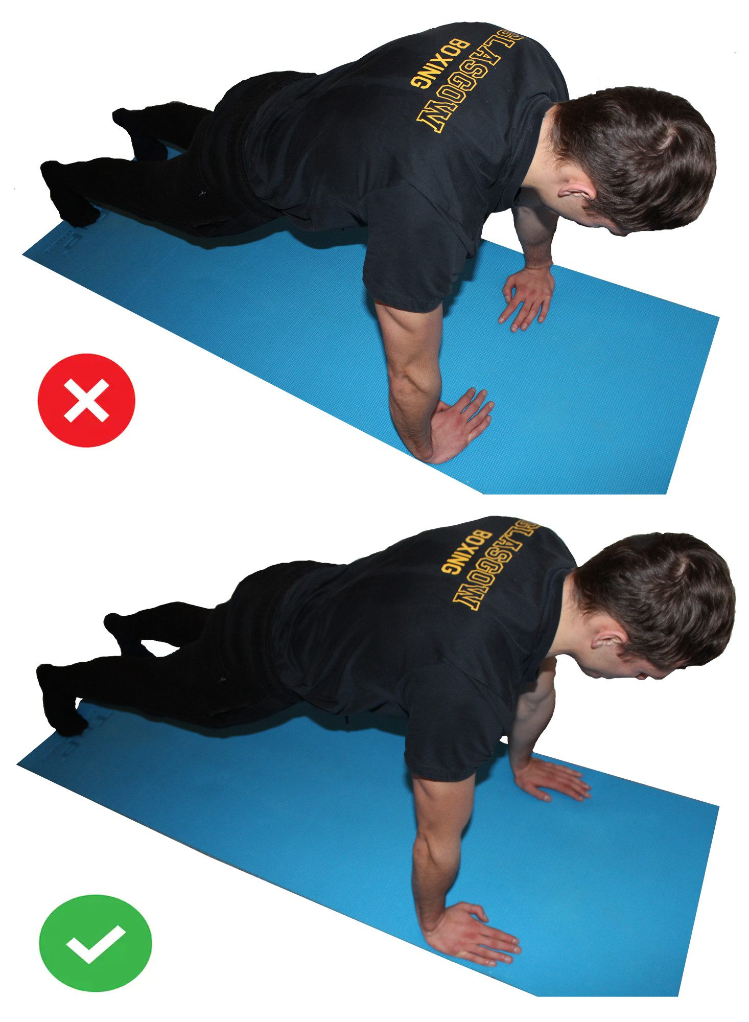 Proper pushup form: side by side comparison of proper hand placement.