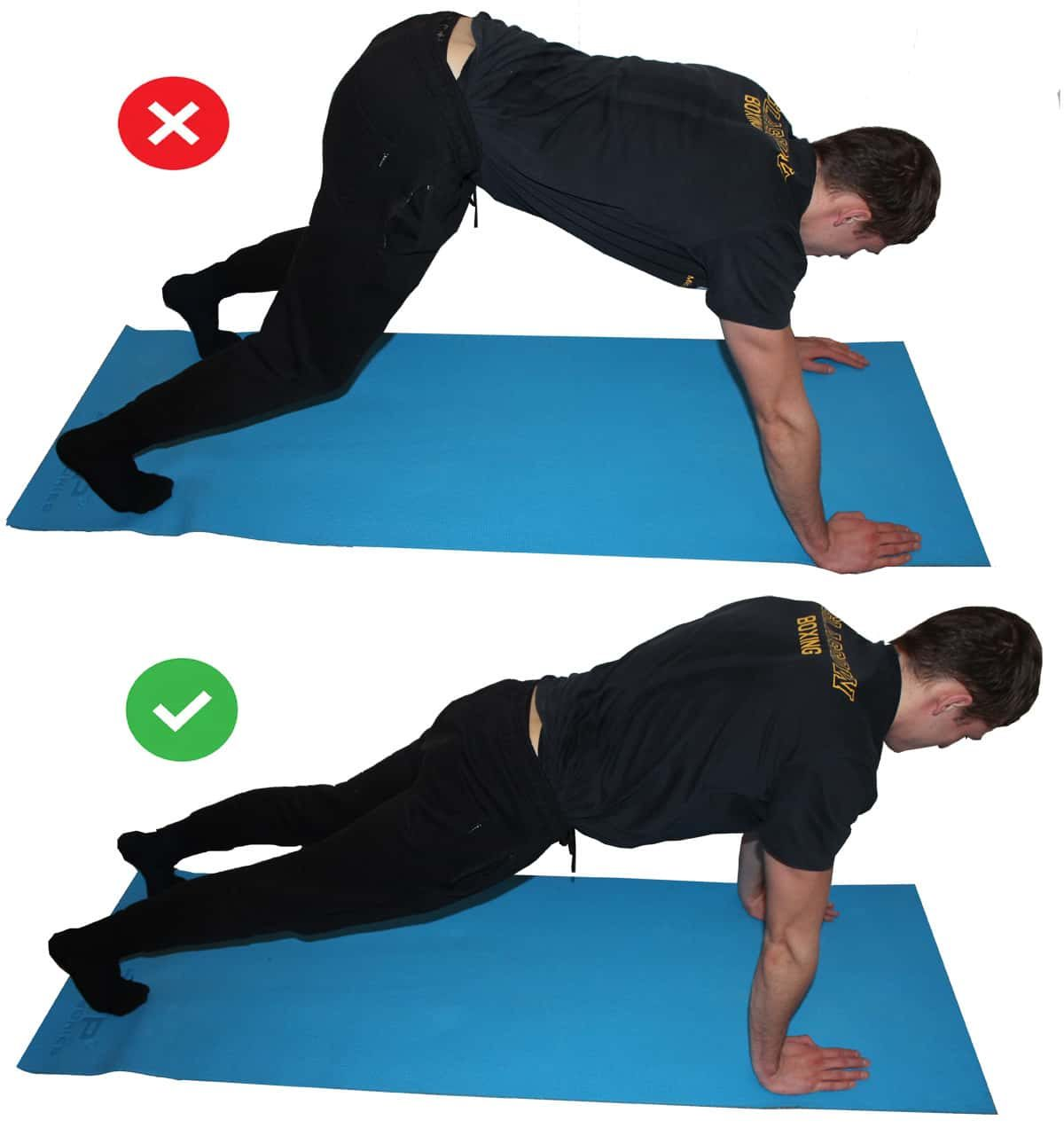 Proper pushup form: demonstration of the mistake in a side by side comparison of pushing the hips too high.