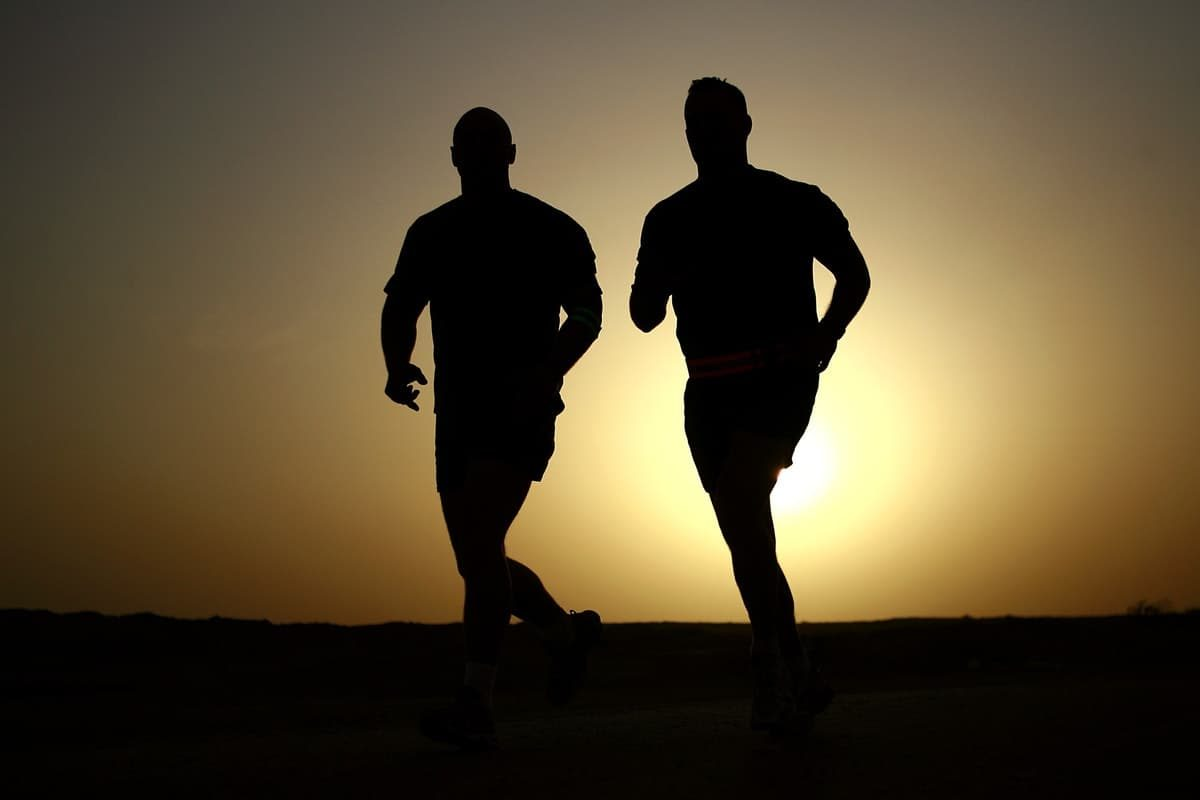 Two joggers jogging at sunset.