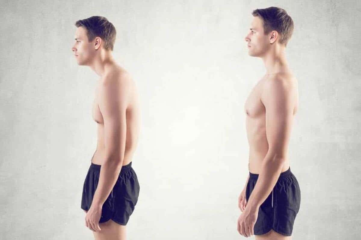 Image depicting back and good posture, left and right respectively.