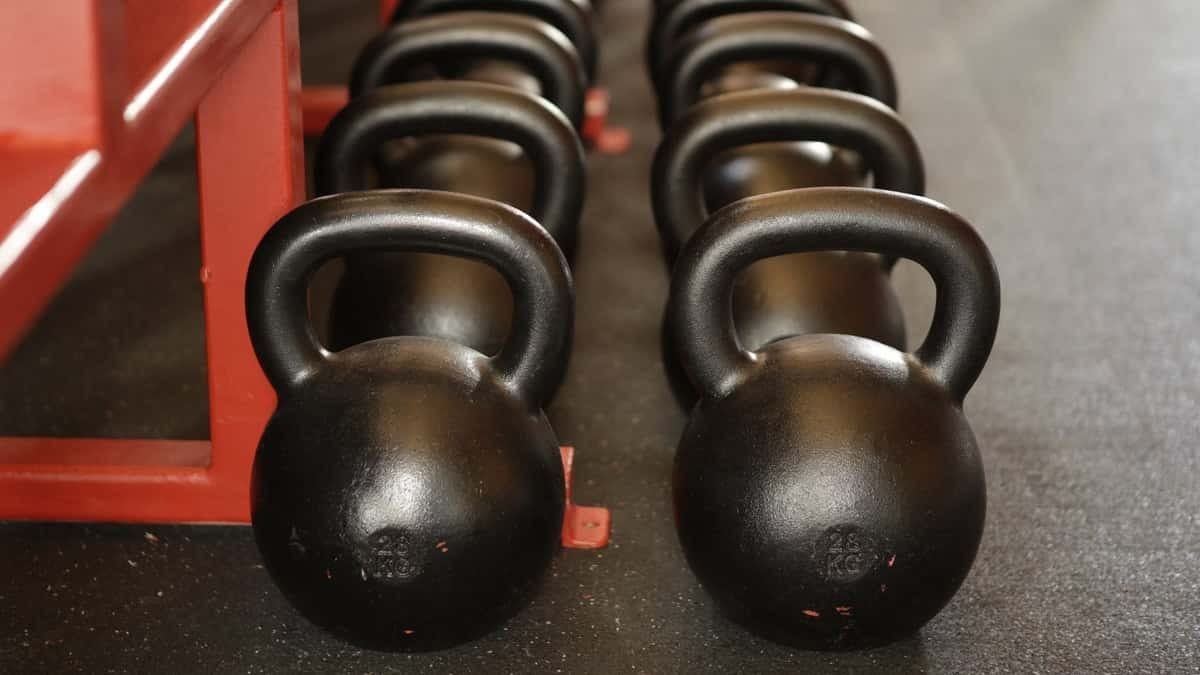 Kettlebells lined up.